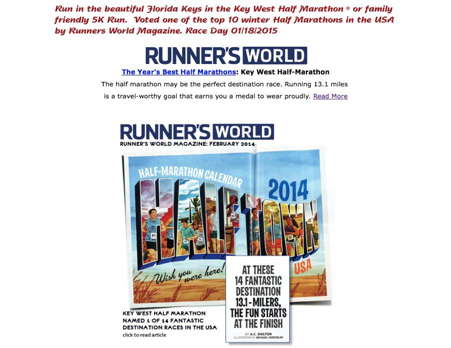 KeyWest Half Marathon RunnerWorld Ad